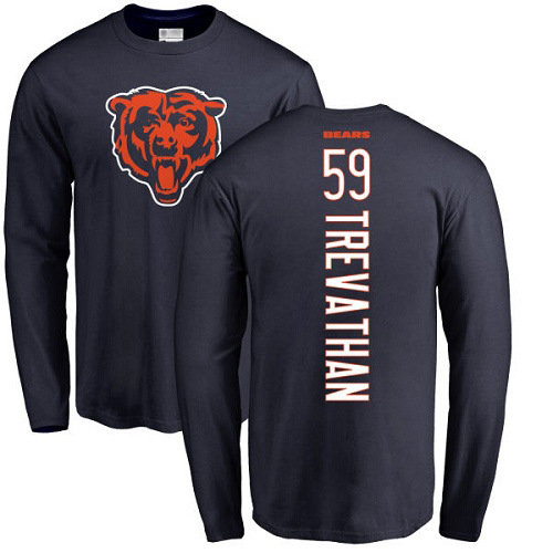 Danny Trevathan Navy Blue Backer - #59 Football Chicago Bears Long Sleeve T-Shirt