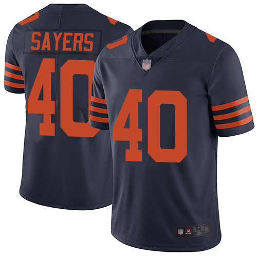 Limited Youth Gale Sayers Navy Blue Jersey - #40 Football Chicago Bears Rush Vapor Untouchable