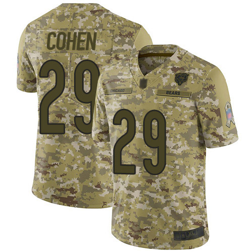 Limited Men's Tarik Cohen Camo Jersey - #29 Football Chicago Bears 2018 Salute to Service